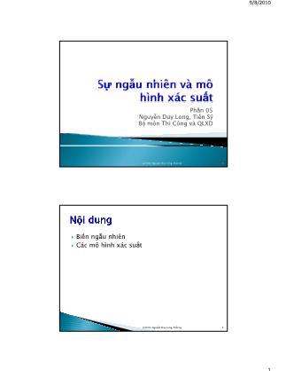 Bài giảng Thống kê học ứng dụng trong quản lý xây dựng - Chương 5: Sự ngẫu nhiên và mô hình xác suất - Nguyễn Duy Long