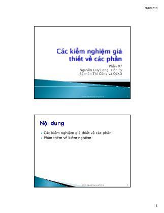 Bài giảng Thống kê học ứng dụng trong quản lý xây dựng - Chương 7: Các kiểm nghiệm giả thiết về các phần - Nguyễn Duy Long