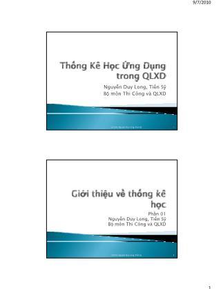 Bài giảng Thống kê học ứng dụng trong quản lý xây dựng - Chương 1: Giới thiệu về thống kê học - Nguyễn Duy Long