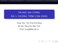 Bài giảng Tin học đại cương - Bài 3: Chương trình con (Hàm) - Đinh Phú Hùng