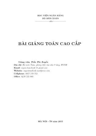 Bài giảng Toán cao cấp - Trần Thị Xuyến
