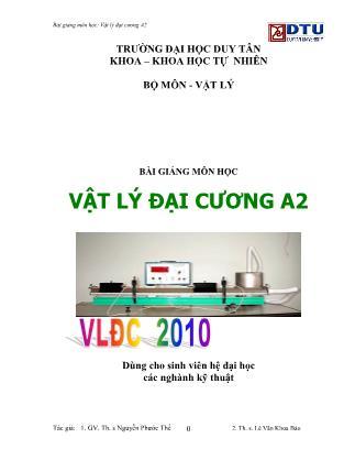 Bài giảng Vật lý đại cương A2 - Nguyễn Phước Thể