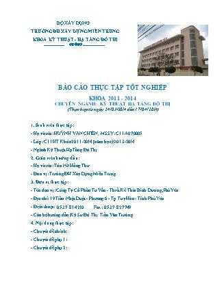 Báo cáo Thực tập tốt nghiệp chuyên ngành Kỹ thuật hạ tầng đô thị - Huỳnh Văn Chiến