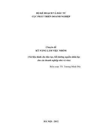 Chuyên đề Kỹ năng làm việc nhóm - Trương Minh Đức