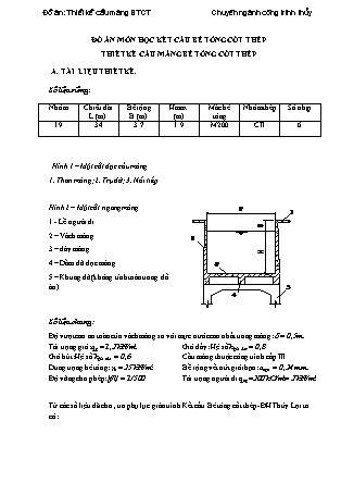 Đồ án Kết cấu bê tông cốt thép - Thiết kế cầu máng bê tông cốt thép