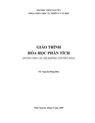 Giáo trình Hóa học phân tích (Phần 1) - Nguyễn Đăng Đức