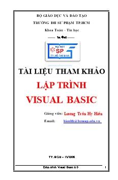 Giáo trình Lập trình Visual Basic - Lương Trần Hy Hiến