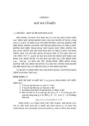 Giáo trình Lý thuyết mật mã - Chương 1: Mật mã cổ điển