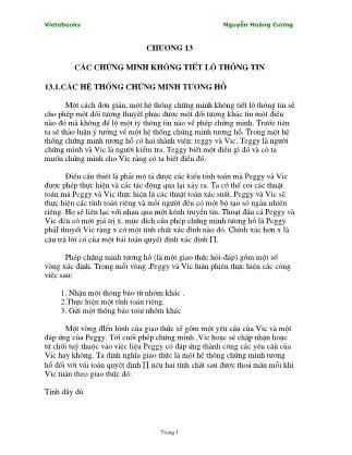 Giáo trình Lý thuyết mật mã - Chương 11: Các chứng minh không tiết lộ thông tin - Nguyễn Hoàng Cương