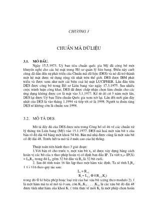 Giáo trình Lý thuyết mật mã - Chương 3: Chuẩn mã dữ liệu