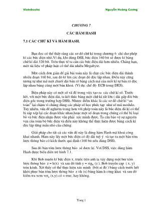 Giáo trình Lý thuyết mật mã - Chương 7: Các hàm HASH - Nguyễn Hoàng Cương