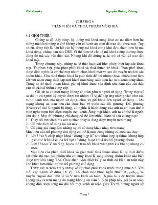 Giáo trình Lý thuyết mật mã - Chương 8: Phân phối và thoả thuận về khóa - Nguyễn Hoàng Cương