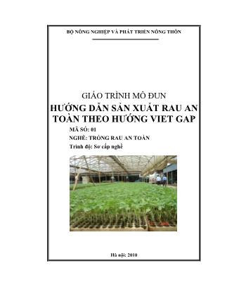 Giáo trình môđun Hướng dẫn sản xuất rau an toàn theo hướng Vietgap (Phần 1)