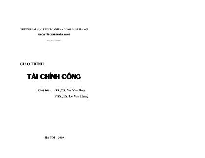 Giáo trình Tài chính công - Vũ Văn Hoá