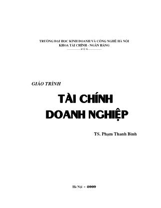 Giáo trình Tài chính doanh nghiệp - Phạm Thanh Bình