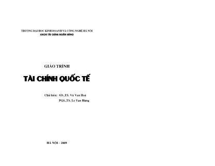Giáo trình Tài chính quốc tế - Vũ Văn Hoá