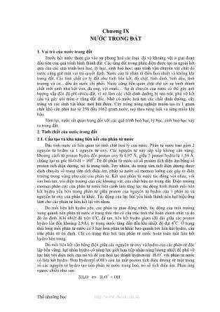 Giáo trình Thổ nhưỡng học - Chương IX: Nước trong đất