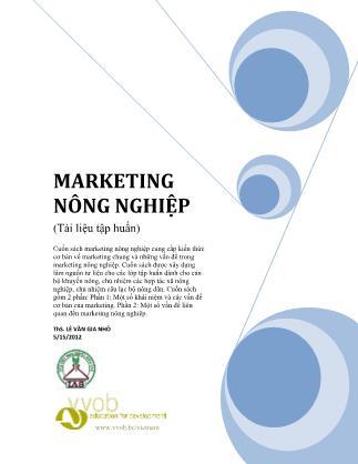 Marketing nông nghiệp - Phần I: Những vấn đề căn bản về marketing