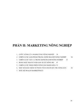 Marketing nông nghiệp - Phần II: Marketing nông nghiệp