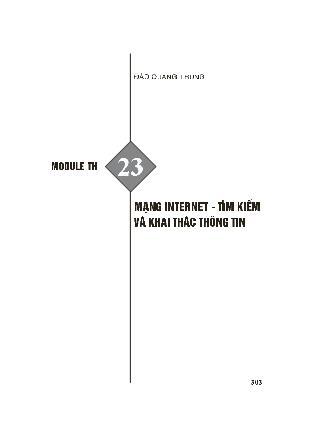 Module bồi dưỡng thường xuyên Tiểu học - Module TH 23: Mạng internet - Tìm kiếm và khai thác thông tin - Đào Quang Trung