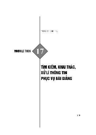 Module bồi dưỡng thường xuyên Trung học Cơ sở - Module THCS 17: Tìm kiếm, khai thác, xử lí thông tin phục vụ bài giảng - Trịnh Thanh Hải