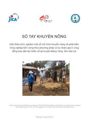Sổ tay khuyến nông Giới thiệu kinh nghiệm một số mô hình khuyến nông về phát triển nông nghiệp bền vững theo phương pháp có sự tham gia ở vùng đồng bào dân tộc thiểu số tại huyện Mang Yang, tỉnh Gia Lai
