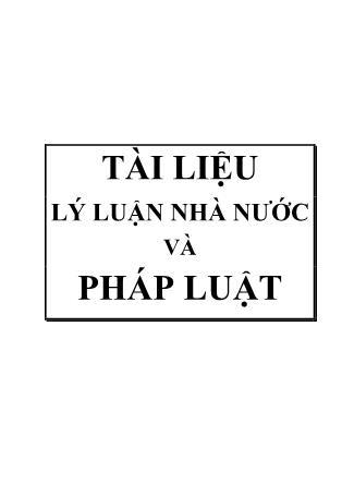 Tài liệu Lý luận nhà nước và pháp luật - Lưu Minh Duy