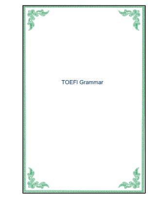 Tài liệu ôn thi TOEFL - Phần ngữ pháp