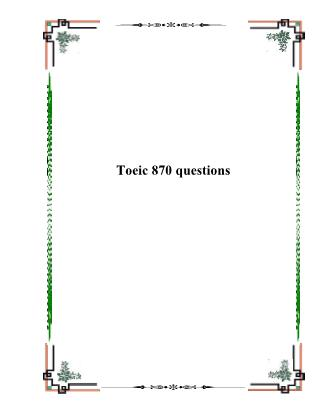 Toeic 870 questions
