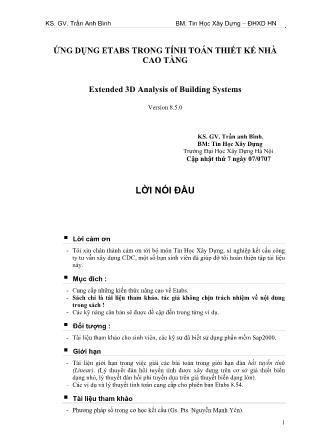 Ứng dụng Etabs trong tính toán thiết kế nhà cao tầng - Trần Anh Bình
